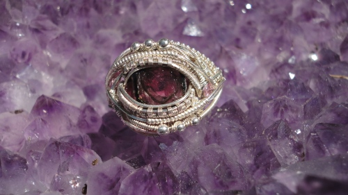 Sterling Silver watermelon tourmaline ring