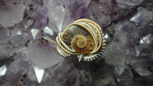 Ammonite sterling silver hatpin