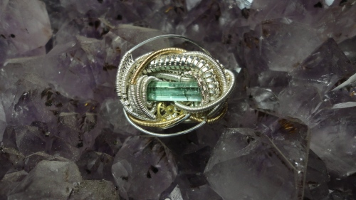 Tourmaline steam punk hatpin